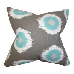 """The Pillow Collection - Paegna Ikat Pilllow Gray 18"""" x 18"""" - Bring a fun and exciting twist to your home with this gorgeous throw pillow. This accent pillow features an exotic ikat design in shades of gray, white and blue. Toss this square pillow to your sofa, bed or seat. Made with a blend of high-quality materials: 55% cotton and 45% linen. Crafted in the USA. Hidden zipper closure for easy cover removal.  Knife edge finish on all four sides.  Reversible pillow with the same fabric on the back side.  Spot cleaning suggested."""