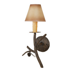 Stone County Iron Works - Pine Iron Wall Sconce - Stone County Iron Works 946-005-AMB Pine Iron Lodge/Rustic Wall Sconce