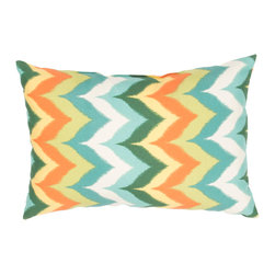 """Jaipur Rugs - Blue/Multi color polyester glamis poly fill pillow 13""""x18"""" - These fashion forward pillows, in trellis, stripes and whimsical patterns are for both indoor and outdoor use."""