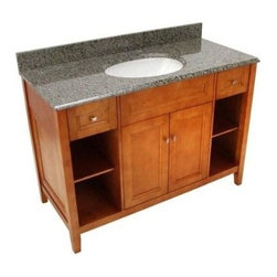 Foremost - Foremost Exhibit 49 in W x 22 in. D Vanity with Quadro Granite Top (TRIAQD4922) - Foremost TRIAQD4922 Exhibit 49 in W x 22 in. D Vanity with Quadro Granite Top, Rich Cinnamon