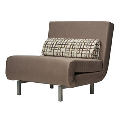 Cortesi Home - Savion Convertible Accent Chair Bed, Taupe - The Savion convertible accent chair is perfect for unexpected overnight guests. It is upholstered in a linen like fabric with a matching accent pillow and finished with a black or pewter metal base. Perfect way to upgrade your home and save some space, capability to fold into a chair and then pullout as a bed, this versatile piece is cute and functional.