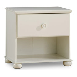 South Shore - Kids' Night Table With Pure White Finish - * Manufactured from eco-friendly, EPP-compliant laminated particle boardcarrying the Forest Stewardship Council (FSC) certification. Popular Pure White finish. Tops with profiled edge. Decorative rounded feet made from solid wood. Tops and bottoms have contoured edging. Concave wood-detailed knobs. 1 drawer and 1 open case for convenient bedside storage solutions. Metal glide. Manufactured from engineered-wood products. Made of engineered wood from 100% recycled wood fiber. 5-year warranty. Assembly required24 in. L x 16 in. W x 23 in. H. 33 lbs