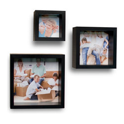 Danya B. - Photo Frame Wall Cube Shelf Set (Set of 3) - Add a personal touch to your d̩cor with this set of 3 decorative cube wall shelves with built in picture frames. This set allows you to display both memorable pictures and treasured memories in one place. You can display these deep photo frames either on a table or shelf, or mount them on the wall and use your imagination to create a customized wall space. Easy to install with no visible connectors or hanging hardware. All hardware included.