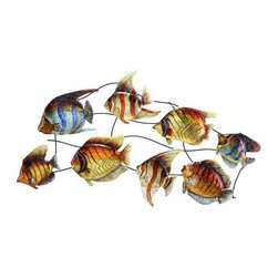 UMA - Detailed Darlings Tropical Fish Metal Wall Sculpture - Eight diverse tropical fish friends are set upon a metal grid and create quite a spectacle with their brilliant colors and true to life details