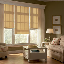 Designer Roller Screen Shades - Lake St. Louis - These roller shades look beautiful in this family room! They really help accent the wood floors.