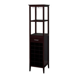 Winsome Wood - Winsome Wood Wine Tower X-76529 - This classic wine tower stores eighteen bottles of wine in individual drawers, and there is one drawer for accessories storage. There is a hanging rack which holds wine glasses, and two shelves for holding open bottles, full glasses, and plates.
