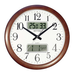 "Rhythm Clocks - 16"" Estado Wall Clock Wooden CFG901NR06 - Encased in wooden frame, the Estado is a perfect mix between exquisite and modern with a 16"" diameter dial. The clock comes with a digital display of a calendar, thermometer, and hygrometer. Clock is battery operated with a Quartz movement."