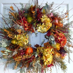 Wreaths - Amazing handmade wreath. Made with silk flowers and faux fruit. Lasts from season to season.