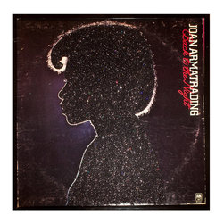 """Glittered Joan Armatrading Back to the Night Album - Glittered record album. Album is framed in a black 12x12"""" square frame with front and back cover and clips holding the record in place on the back. Album covers are original vintage covers."""
