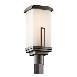 BUILDER - BUILDER Leeds Soft Contemporary/Casual Lifestyle Outdoor Post Lantern X-IVA41194 - Clean modern lines are complimented by contrasting finishes on this Kichler Lighting outdoor post lantern light. From the Leeds Collection, the clean angular lines are softened by a satin etched cased opal glass shade. An Anvil Iron finish pulls the look together. Rated for wet locations.