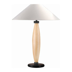 Lite Source - Wood Table Lamp - Natural With White Fabric Shade - Wood Table Lamp - Natural With White Fabric Shade