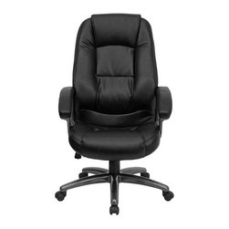 Flash Furniture - Flash Furniture Ergonomically Curved Office Chair in Black - Flash Furniture - Office Chairs - GO7145BKGG - Whether you're looking for an office chair that is functional or one that is comfortable or a chair that just looks great this Black Leather Executive Office Chair from Flash Furniture will complete all your needs. Consisting of a well-padded seat and back along with a standard spring tilt mechanism padded loop arms and black leather upholstery this leather office chair will be a fine addition to any office setting. [GO-7145-BK-GG]