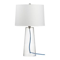 Mack with Blue Cord Table Lamp - This lamp has one of my favorite colors (blue) and materials (glass) all rolled into one. It would be great for a desk or bedside table.