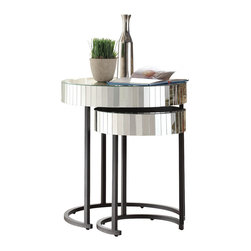 Office Star - 1 Office Star Krystal Round Mirror Accent Table with Metal Legs Fully Assembled - ***This listing is only for 1 table
