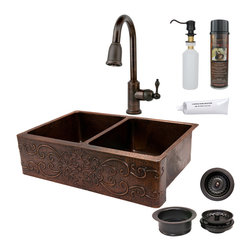 "Premier Copper Products - 33"" Apron 50/50 Scroll Sink w/ ORB Faucet - PACKAGE INCLUDES:"