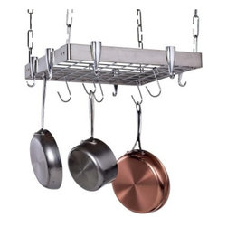"Stainless Steel Square Hanging Pot Rack - Pack a lot of punch in a small space with this Stainless Steel Square Hanging Pot Rack. Square racks have the added convenience of being able to fit almost anywhere so if you're pressed for space this might be the rack for you. The solid brushed stainless steel frame of this rack will bring some shine to any kitchen decor and the sturdy cast aluminum hooks will hold your pots with security and ease. Use the center grid as an extra shelf for even more storage possibilities. Comes complete with hanging hardware plus 6 """"S"""" hooks and 8 pan hooks that are attached to the sides of the rack. About the ManufacturerFor over 10 years Concept Housewares has been a leader in kitchen storage and Asian cookware. Concept Housewares products are designed with the consumer in mind and are made with the best materials and craftsmanship available. These products are repeatedly recognized for quality style and innovation allowing customers to accessorize their kitchens at an exceptional value. Concept Housewares strives to find new ways to organize and streamline today's kitchens without compromising style."