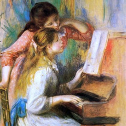 "Pierre Auguste Renoir Girls at the Piano - 16"" x 24"" Premium Archival Print - 16"" x 24"" Pierre Auguste Renoir Girls at the Piano premium archival print reproduced to meet museum quality standards. Our museum quality archival prints are produced using high-precision print technology for a more accurate reproduction printed on high quality, heavyweight matte presentation paper with fade-resistant, archival inks. Our progressive business model allows us to offer works of art to you at the best wholesale pricing, significantly less than art gallery prices, affordable to all. This line of artwork is produced with extra white border space (if you choose to have it framed, for your framer to work with to frame properly or utilize a larger mat and/or frame).  We present a comprehensive collection of exceptional art reproductions byPierre Auguste Renoir."