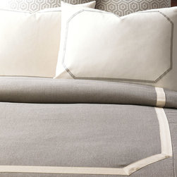 Gavin Duvet Cover - Move into your very own urban loft with voguish Gavin. Organic tones in stone and creme define this graphic collection with a twist of fashionable tangerine.