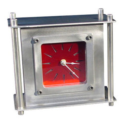 "American FABHOUSE - Mantle/Desk Clock, Red - Thick stainless steel clock body with clear glass & metal bezel. 10 gage stainless steel materials with 0.50"" solid stainless steel rods, 0.125"" clear clock window and 0.125 laser cut stainless steel bezel. Hand textured stainless steel with clear or translucent red coating on clock dial."