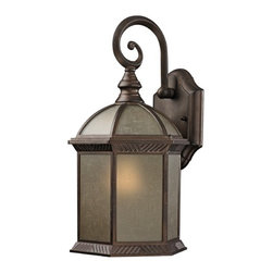 Design Classics Lighting - Traditional Bronze Hexagon Outdoor Wall Light with Amber Glass - 5271 AT - Autumn bronze finish outdoor wall light with frosted amber linen glass. Takes (1) 100-watt incandescent A19 bulb(s). Bulb(s) sold separately. ETL listed. Wet location rated.