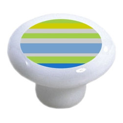 Carolina Hardware and Decor, LLC - Blue Yellow Green Striped Ceramic Knob - New 1 1/2 inch ceramic cabinet, drawer, or furniture knob with mounting hardware included. Also works great in a bathroom or on bi-fold closet doors (may require longer screws).  Item can be wiped clean with a soft damp cloth.  Great addition and nice finishing touch to any room.