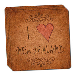 """Made on Terra - I Heart Love New Zealand Vintage Thin Cork Coaster Set of 4 - You're just cleaning up after your epic party when you realize it... something's different. Unlike all those other times, you're not mopping up cup condensation from your counters and tables. This time, everyone used a coaster. Everyone. Maybe it's because you handed out a coaster with every glass. No. You've tried that before. No, this time it's because of the actual coasters. You found the cutest Made On Terra printed cork coasters. You love that everyone commented on how unique they were,  from the light-weight, thin cork material to the printing that creates a cool and subtle effect. Plus, they're really absorbent, but dry quickly. And they're made from an eco-friendly, sustainable resource, so that makes you feel pretty great, too. Choose from Made on Terra's many fabulous cork coasters. Measures 4"""" x 4"""" x 1/8"""". Made of thin cork. Super cute and nicely absorbent. Sold in sets of four."""