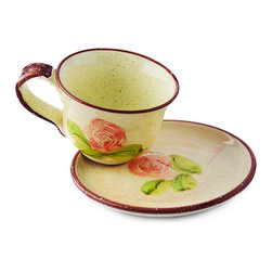 Vita Casalinga - Hand-Painted Rose Breakfast Cup and Plate - Have yourself a European breakfast on hand-painted Italian terra-cotta. The delicate rose design will make a flaky croissant and home-brewed cappuccino taste that much more scrumptious.