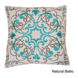 Thro - Sydney Embroidered 20x20-inch Feather Filled Throw Pillow - Add the stylish Sydney embroidery pillow on faux linen fabric and feather fill to update your room decor.