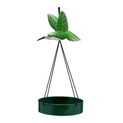 Songbird Essentials - Hummingbird Suspended Metal Tray Birdfeeder - Songbird Essentials' suspended tray birdfeeders is a colorful way to feed many birds at one time. The painted, metal tray holds up to 4 cups of seeds or mealworms, and has a mesh bottom to allow food to drain.