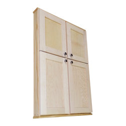 "WG Wood Products - Butler Series Double-Door On-The-Wall Cabinet, 43.5""h X 29""w X 3.25""d - Mounts on the wall with built in cleats inside for an easy installation.  Four fully adjustable glass shelves in each side of the cabinet.  Shaker style doors sit on concealed hinges. Doors are left undrilled so you can decide where or if you want to use the included knobs.  Perfect as a medicine cabinet, spice cabinet, or storage cabinet anywhere.  Overall Measurements are 43.5h x 29w x  3 1/4""d.  You'll have nearly 2.5"" of depth inside the cabinet.  Natural pine finish can be painted or stained.  Solid maple doors. Proudly made in the USA."