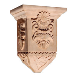 """Inviting Home - Yale Small Wood Corbel - Maple - wood corbel in hard maple 10-7/8""""H x 6""""D x 8""""W Corbels and wood brackets are hand carved by skilled craftsman in deep relief. They are made from premium selected North American hardwoods such as alder beech cherry hard maple red oak and white oak. Corbels and wood brackets are also available in multiple sizes to fit your needs. All are triple sanded and ready to accept stain or paint and come with metal inserts installed on the back for easy installation. Corbels and wood brackets are perfect for additional support to countertops shelves and fireplace mantels as well as trim work and furniture applications."""