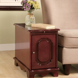 Coaster - Cherry Traditional Accent Cabinet - Cherry finish side table with pull-out tray and storage.