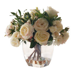 """Winward Designs - Rose In Glass Flower Arrangement - These fluffy cabbage roses have so much loving, lifelike detail, no one will ever guess they are silk! Luscious and creamy with subtle kisses of pink, they include various stages of bloom from bud to full flower, and their thorny stems extend into faux """"water"""" for a final touch. Classic and neutral in their clear glass vase, they'll look gorgeous anywhere; you'll want them in every room of the house."""