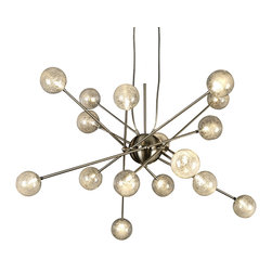 Trend Lighting - Galaxia Pendant - This gorgeous constellation of bulbs is simply resplendent. Watch your world light up when you hang this pendant in your home. The lovely halogen spheres will bring the glow of the galaxy indoors!