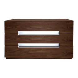 Modloft - Monroe Dresser in Walnut - This Monroe three-drawer dresser offers stainless groove handles matches any modern bedroom decor. Available in wenge or walnut finishes. Assembly required. This Dresser has hardwood construction. Imported.