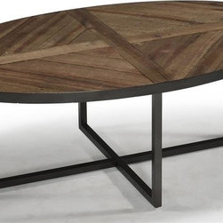 Magnussen Furniture - Lakeside Wood Oval Cocktail Table - Constructed from Reclaimed wood, Metal Tube Bases and Levelers. All pieces feature a slab-panel design. All pieces have metal tube legs under reclaimed wood. Country Styling. Natural Sienna Finish. Reclaimed wood, Metal tubing and Levelers. Natural Sienna Finish. 1 Year Limited Warranty. 50 in. W x 30 in. D x 18 in. H (50 lbs.)Straightforward in design, each slab-panel design of the Lakeside collection relies on reclaimed solid timbers recycled from old buildings and metal rod-and-tube construction to make its own subtle statement. In Natural Sienna and oxidized metal the materials has a natural patina with nail holes, dips, natural imperfections and blemishes that create unique individual character.