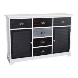 None - Gallerie Decor Burnside 6-drawer 2-door Cabinet - The Burnside cabinet is hand-crafted and detailed with sturdy wood in a crisp white finish with top crown molding and contrasting grooved drawers. The look is both contemporary and transitional.