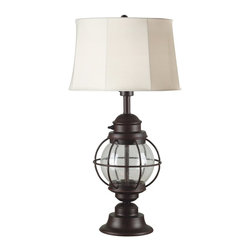 Kenroy - Kenroy KR-03070 Hatteras Transitional Outdoor Table Lamp - The perennial beauty of an old lantern makes Hatteras a must for lovers of seaside ephemera with an antique look.  Seeded glass adds character to this eternal classic.  *For Outdoor Use *Two Shade Fabrics Included with Each Lamp for Two Distinctive Looks *UL Rated for Wet Location