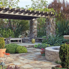 Stone pillars and pergola roof