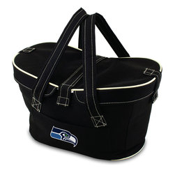 Picnic Time - Seattle Seahawks Mercado Picnic Basket in Black - This Mercado Basket combines the fun and romance of a basket with the practicality of a lightweight canvas tote. It's made of polyester with water-resistant PEVA liner and has a fully removable lid for more versatility. Take it to the farmers market, the beach, or use it in the car for long trips. Carry food or sundries to and from home, or pack a lunch for you and your friends or family to share when you reach your destination. The Mercado is the perfect all-around soft-sided, insulated basket cooler to use when you want to transport a lunch or food items and look fashionable doing it.; Decoration: Digital Print; Includes: 1 removable canvas lid