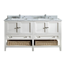Simpli Home - Highbridge White 60-inch Bath Vanity Set with Carrera Marble Top - With the perfect mix of modern and traditional styles, the Highbridge double sink bathroom vanity will give your bathroom an air of sophistication.  There is no shortage of storage space on this large vanity. With four doors, two drawers and two wicker baskets, you should be able to keep everything in its place. An elegant addition to any bathroom.