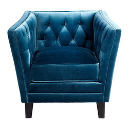 Cyan Design - Cyan Design Prince Valiant Blue Contemporary Chair - This Cyan Design contemporary chair features a classic club chair shape with a tapered body and flared arms. The back and sides of the interior are tufted, which adds to the classic charm of the piece. A bold and modern Blue fabric adds an updated appeal, completing the look.
