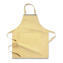 Pantry Apron | - I've had a thing for yellow for a while now - mostly yellow with gray, or yellow with brown. The repeat pattern reminds me of a tile motif - love it.