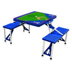 "Picnic Time - Texas Rangers Picnic Table in Blue - Picnic Time's portable Picnic Table is a compact fold-out table with bench seats for four that you can take anywhere. The legs and seats fold into the table when collapsed so the item is easy to store and transport. It has a maximum weight capacity of 250 lbs. per seat and 20 lbs. for the table. The seats are molded polypropylene with a basket weave pattern in the same color as the ABS plastic table top. The frame is aluminum alloy for durability. The Picnic Table is ideal for outdoor or indoor use, whenever you need an extra table and seats. It includes a hole in the center of the table to accommodate a standard sized beach umbrella (having a pole that is 1.25"" diameter or less). Pair it up with Picnic Time's multi-colored stripe Umbrella (812-00-996) or solid colored Umbrella 5.5 (822-00) in red, green, blue or black, sold separately.; Decoration: Digital Print"