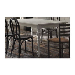 Zuo Modern - 63 in. Dining Table in Antique White Finish - Chairs not included. Voluptuous turned legs. Planked top. Warranty: One year. Made from elm wood. Assembly required. 63 in. L x 35.4 in. W x 30.3 in. H (75.6 lbs.)
