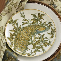 "Peacock Porcelain Salad Plate, Set of 4 - Our spectacular peacock plates add a layer of visual texture and drama to the table. 9.5"" diameter, 1"" high Made of porcelain with an on-glaze decal. Microwave- and dishwasher-safe. Set of 4."