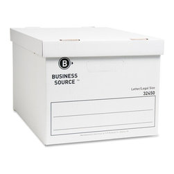 Business Source - Business Source Storage Box - Stackable - Medium Duty - Medium-duty storage box is designed for use with or without shelving with a stacking strength of 400 lb. Box holds letter-size or legal-size folders. The liftoff lid offers easy access. Hand holes allow you to carry it easily. Quick setup feature saves assembly time. Storage box is made with a high percentage of recycled material.