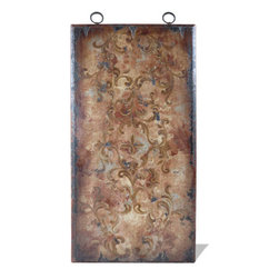 Koenig Collection - Old World Mediterranean Wall Art Panels, Torched Beige with Bone and Maroon - Old World Mediterranean Wall Art Panels