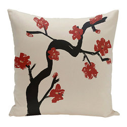 e by design - Floral Tree Red 18-Inch Cotton Decorative Pillow - - Decorate and personalize your home with coastal cotton pillows that embody color and style from e by design  - Fill Material: Synthetic down  - Closure: Concealed Zipper  - Care Instructions: Spot clean recommended  - Made in USA e by design - CPO-NR11-Dragon-18