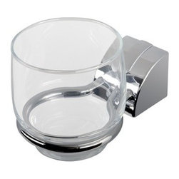 Geesa - Wall Mounted Chrome Tumbler Holder With Clear Glass Tumbler - Contemporary style brass tumbler holder with a chrome finish.
